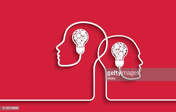 human heads with light bulbs and gears on red background - two people stock illustrations