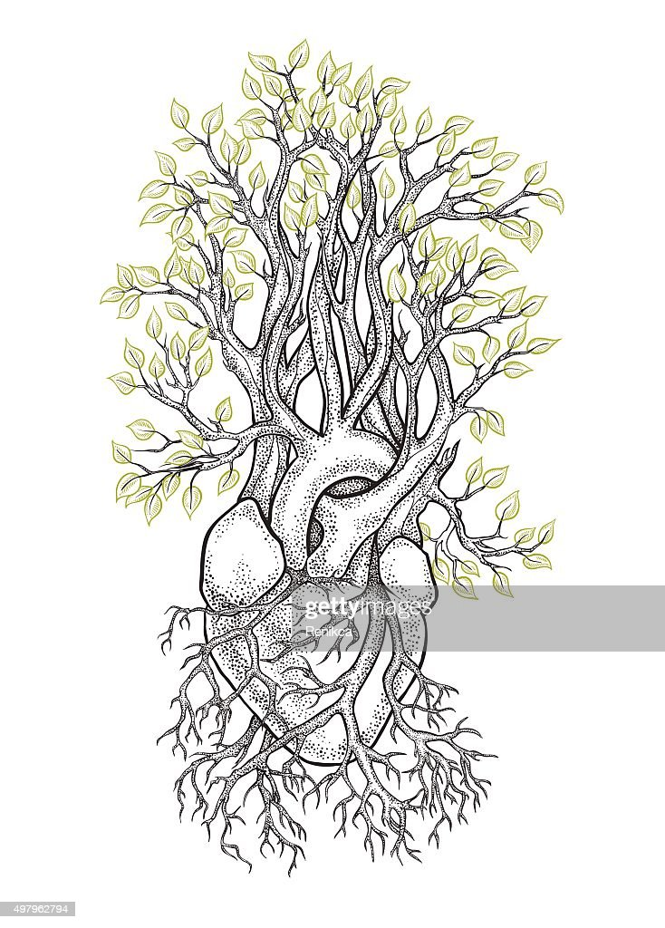 Human heart from which grows a tree