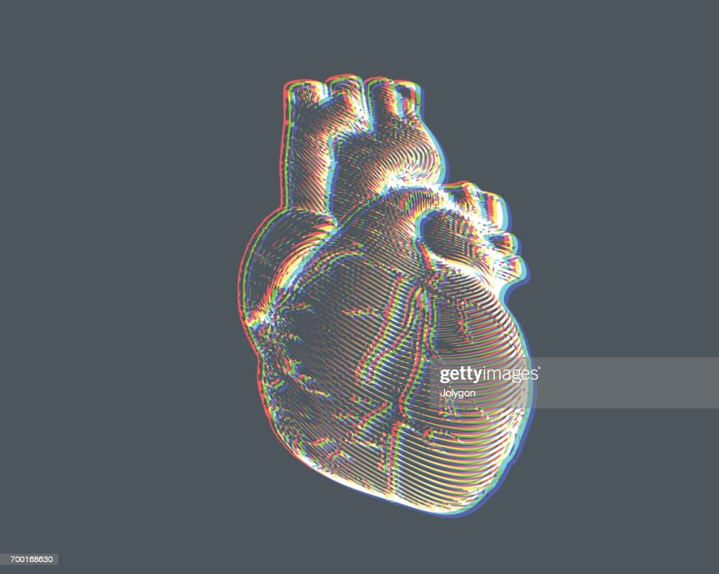 Human heart illustration with chromatic abberation FX