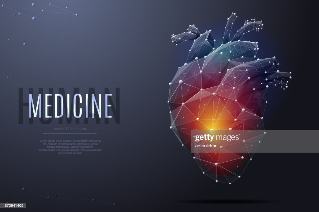 human heart low poly color