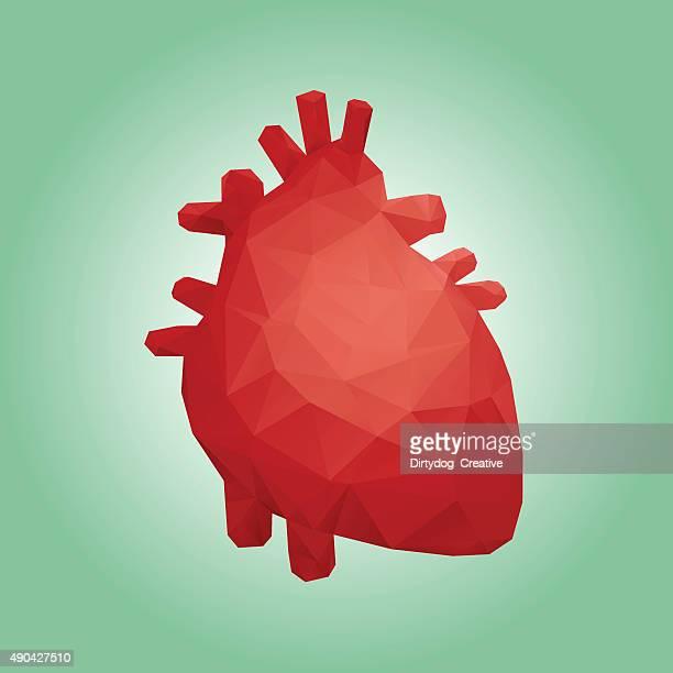 human heart polygon design - human heart stock illustrations