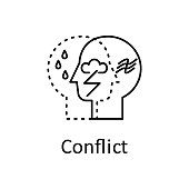 Human internal conflict in mind icon. Element of human mind with name icon. Thin line icon for website design and development, app development. Premium icon