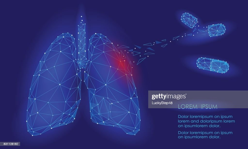Human Internal Organ Lungs Medicine Treatment Drug. Low Poly technology design. Red injury pain area polygonal triangle connected dots. Health medicine icon background vector illustration