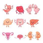 Human Internal Organs, Cartoon Characters Set