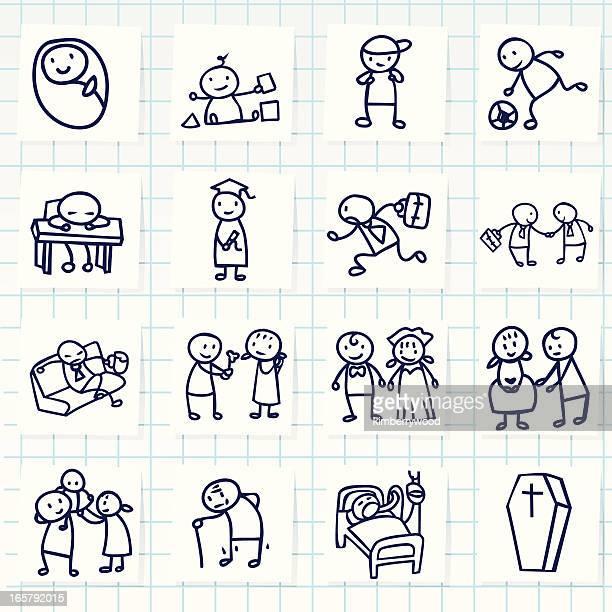human life icon - sick person stock illustrations, clip art, cartoons, & icons