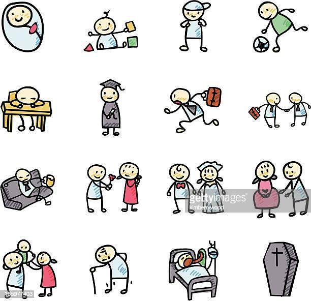 illustrations, cliparts, dessins animés et icônes de icône de la vie humaine - parents