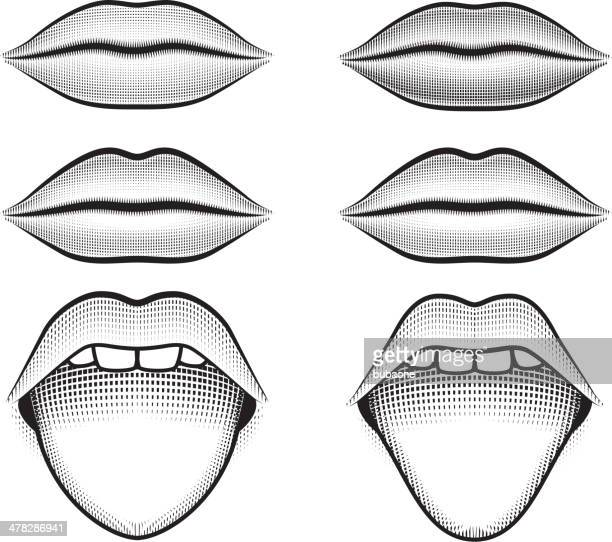 human lips and tongue black & white vector icon set - physiology stock illustrations, clip art, cartoons, & icons