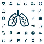 Human lung icon, medical set on white background. Health Care Vector illustration