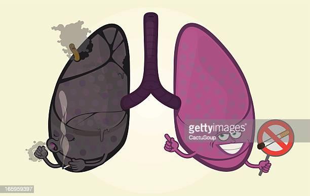 human lungs - no smoking sign stock illustrations