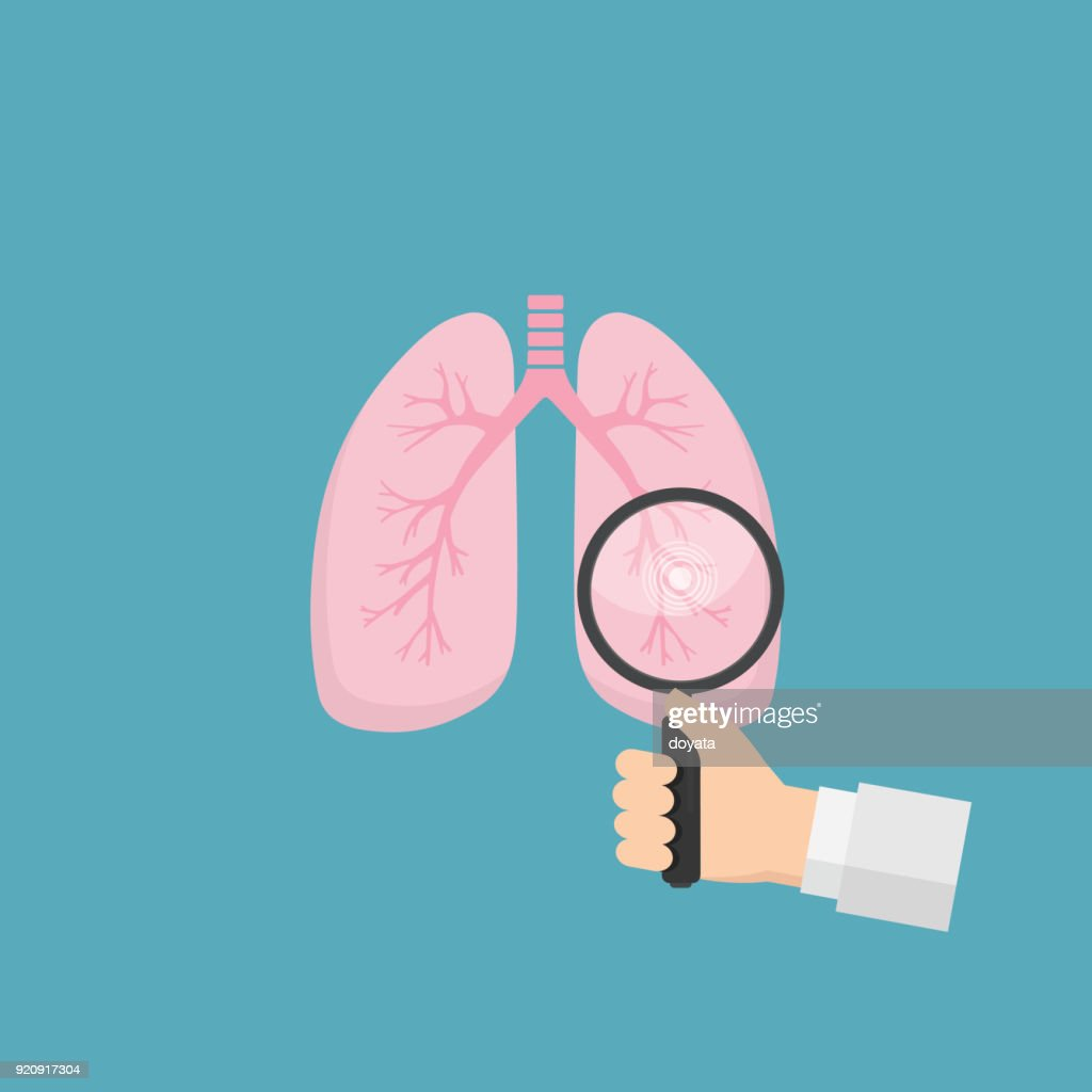 Human lungs with hand holding magnifying glass. Medical tool for diagnosing of diseases of lungs. Health care and medicine concept