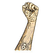 Human male hand raised up with flash spider and web tattoo, symbol of fighting, freedom, revolution, protest and riot. Man power. Man wrist illustration isolated on white background. Vector.