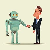 Human man and robot characters make deal and handshake