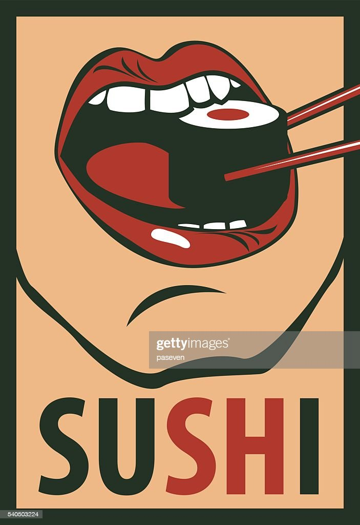human mouth eating sushi in a retro style