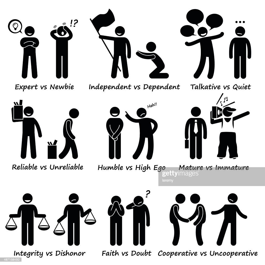 Human Opposite Behaviour Positive vs Negative Character Traits Pictogram