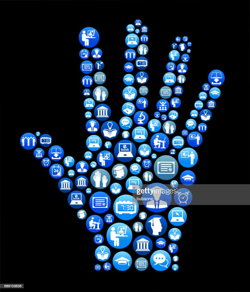 Human Palm E-learning and College Education Blue Button Pattern : Stock Illustration