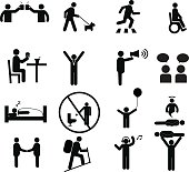 Human pictogram set vector.silhouette human activity,General people sign.human pictograms on white
