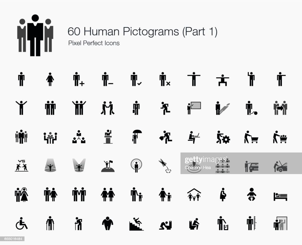 60 Human Pictograms (Part 1 of 2)