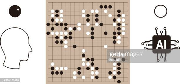 human playing go game with artifical intelligence, vector illustration