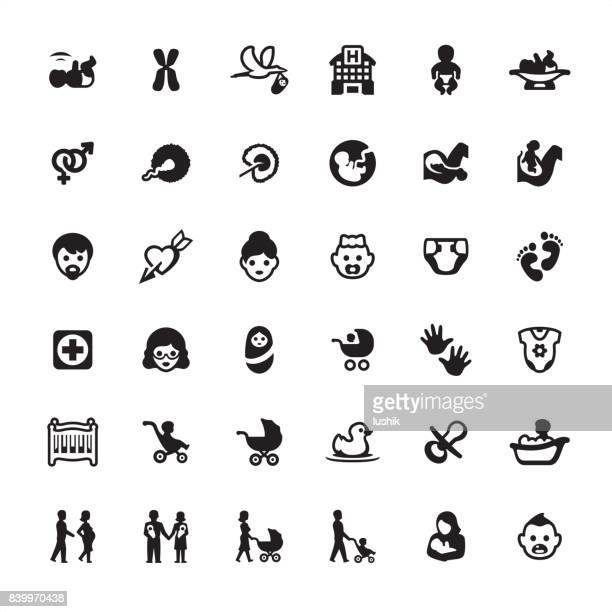 Human Pregnancy and Newborn - icons set