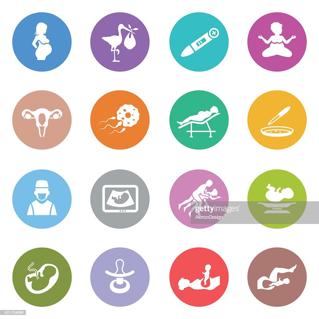 Human Pregnancy Icons : stock illustration
