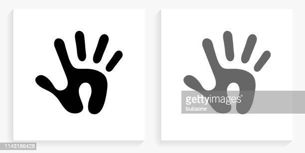 human print black and white square icon - human hand stock illustrations