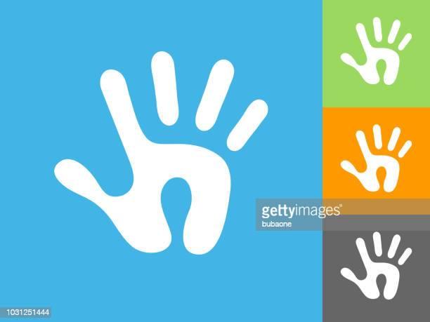 ilustraciones, imágenes clip art, dibujos animados e iconos de stock de humano icono plana impresa sobre fondo azul - huella de mano