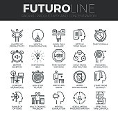 Human Productivity Futuro Line Icons Set