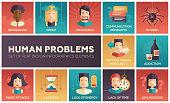 Human psychological problems- flat design icons set