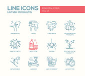 Human psychological problems- line design icons set