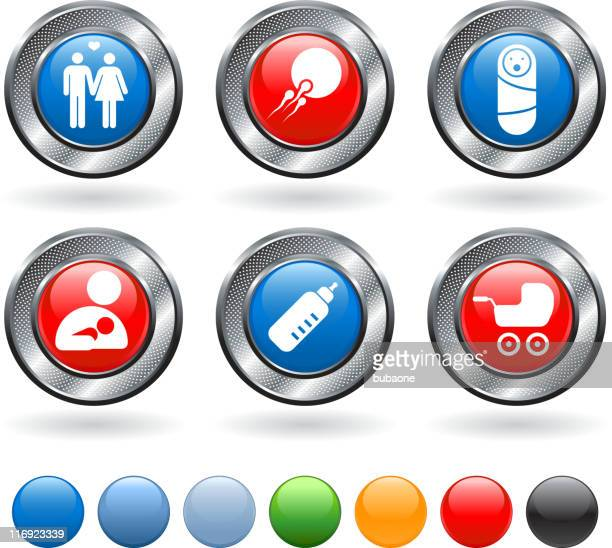 human reproduction and parenting vector icon set on metallic button