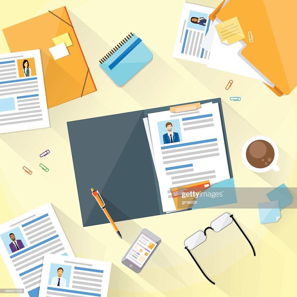 human resouce working place desk documents curriculum vitae vector art