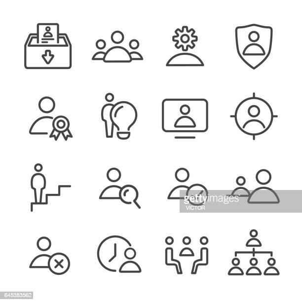 human resource, business and management icons set - line series - corporate hierarchy stock illustrations, clip art, cartoons, & icons