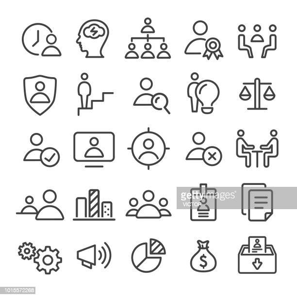 human resource, business and management icons set - smart line series - corporate hierarchy stock illustrations, clip art, cartoons, & icons