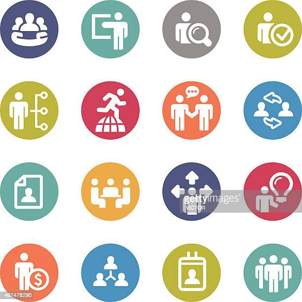 Human Resource, Business and Strategy Icons - Circle Series