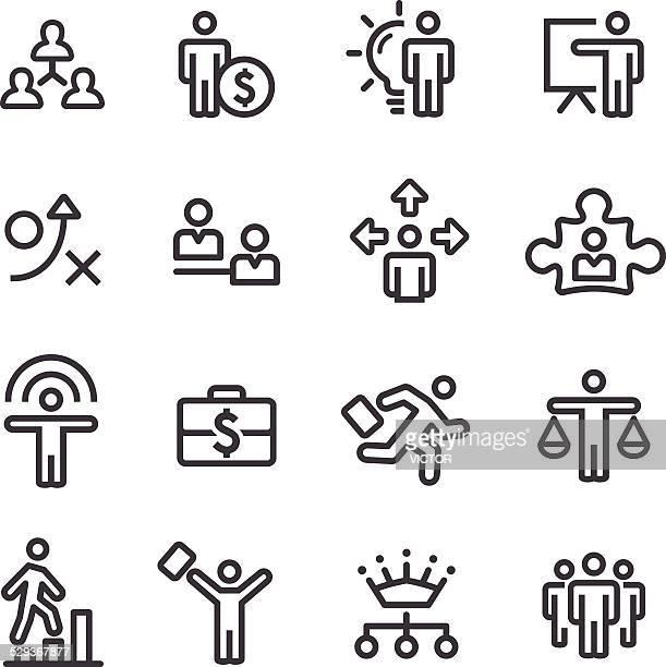 , gestão e recursos humanos ícones-série de estratégia de