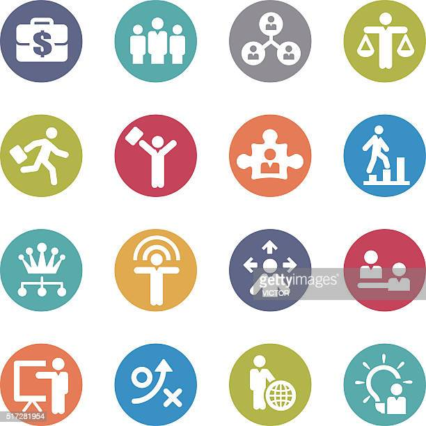 Human Resource, Business and Strategy Icons Set - Circle Series