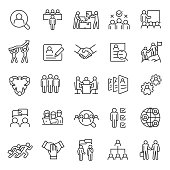 Human resource, linear  icon set. Job hunting and employee search. Interview and recruitment. team work, business people. Editable stroke.