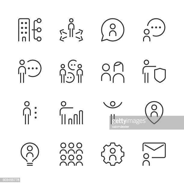 human resource management icons set 2 | black line series - corporate hierarchy stock illustrations, clip art, cartoons, & icons