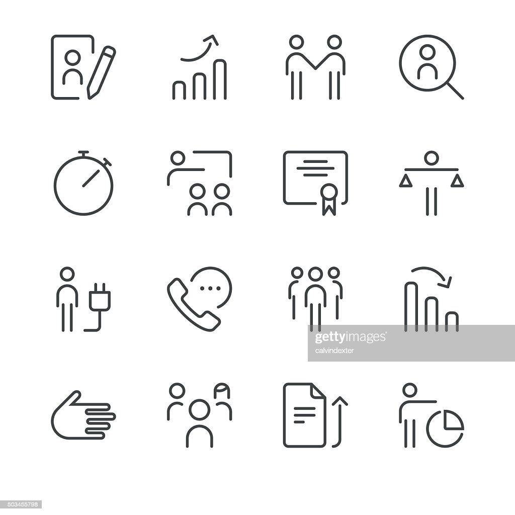Human resource management icons set 3 | Black Line series : stock illustration