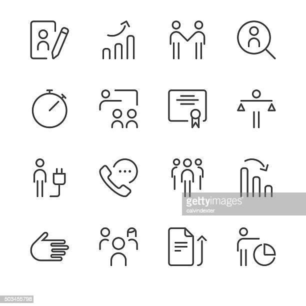 human resource management icons set 3 | black line series - electric plug stock illustrations, clip art, cartoons, & icons