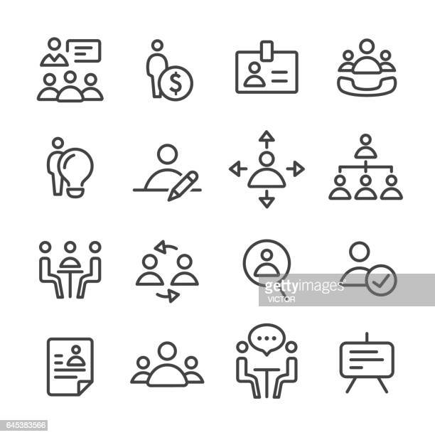 human resource, strategy and business icons - line series - verification stock illustrations, clip art, cartoons, & icons