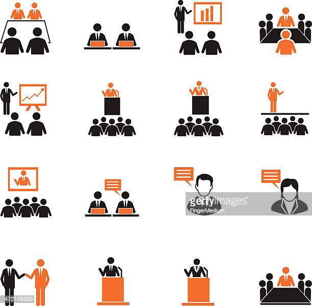 human resources and management icons set - press conference stock illustrations, clip art, cartoons, & icons
