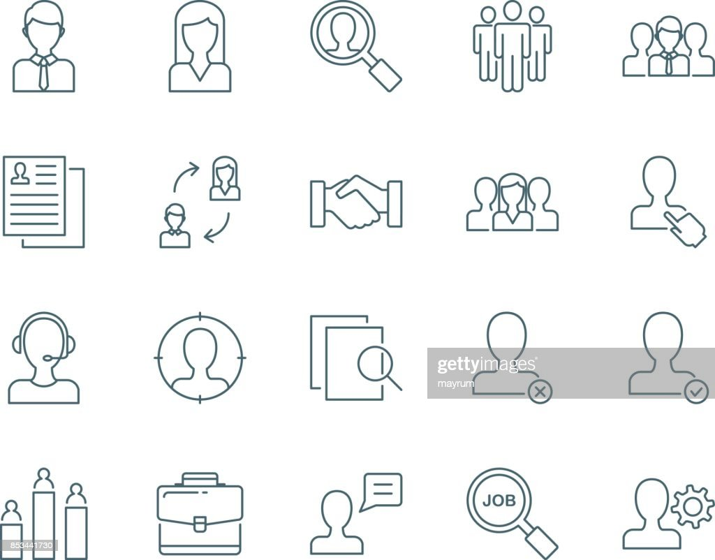 Human resources and managment vector icons set