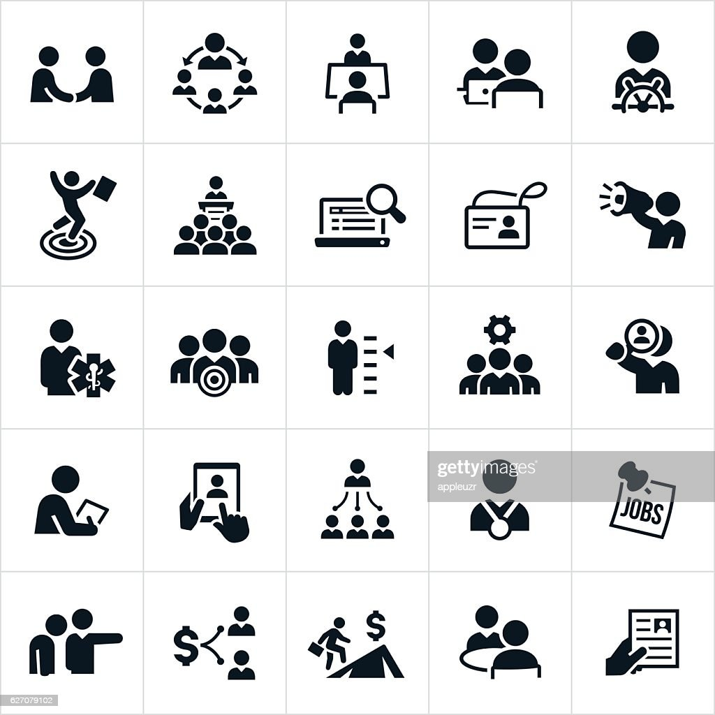 Human Resources and Recruiting Icons : stock illustration