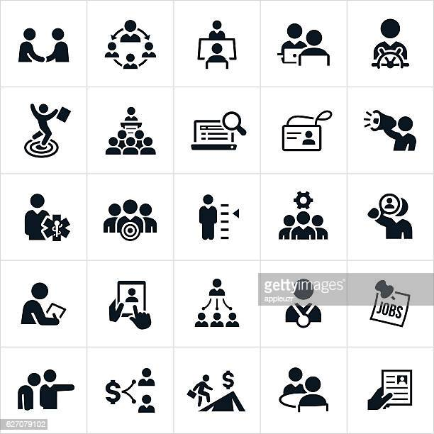 human resources and recruiting icons - downsizing unemployment stock illustrations