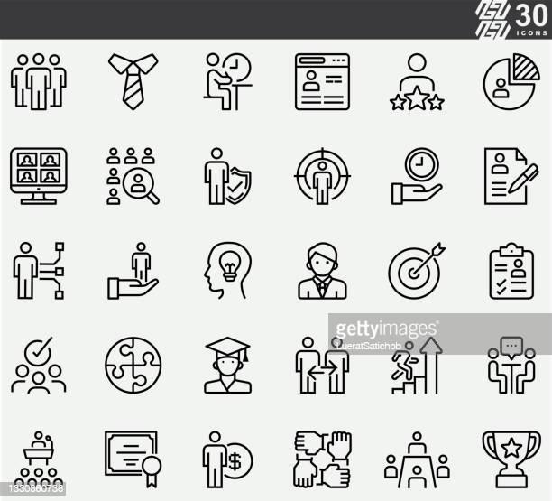 icons der personal- und rekrutierungslinie - umschulung stock-grafiken, -clipart, -cartoons und -symbole