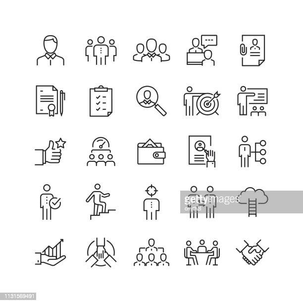 human resources and recruitment related vector line icons - teaching stock illustrations