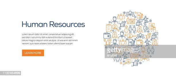 stockillustraties, clipart, cartoons en iconen met human resources banner sjabloon met lijn iconen. moderne vector illustratie voor advertentie, header, website. - groot bedrijf