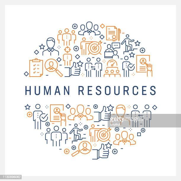 ilustraciones, imágenes clip art, dibujos animados e iconos de stock de concepto de recursos humanos - los iconos de colores de línea, dispuesta en círculo - recursos humanos