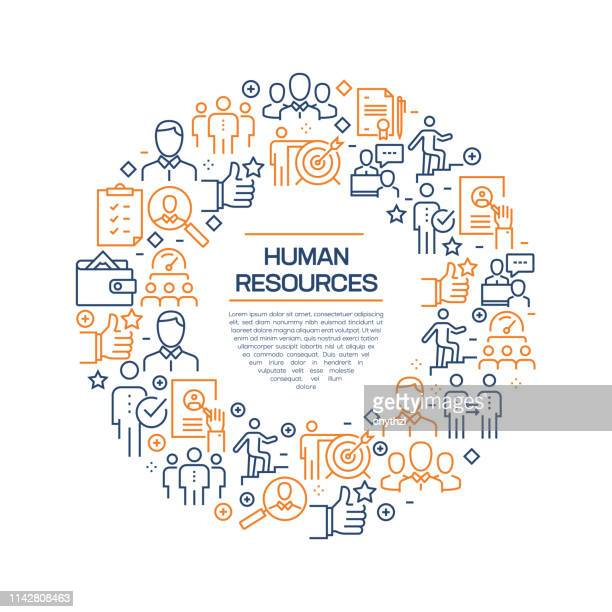 Human Resources Concept - Colorful Line Icons, Arranged in Circle